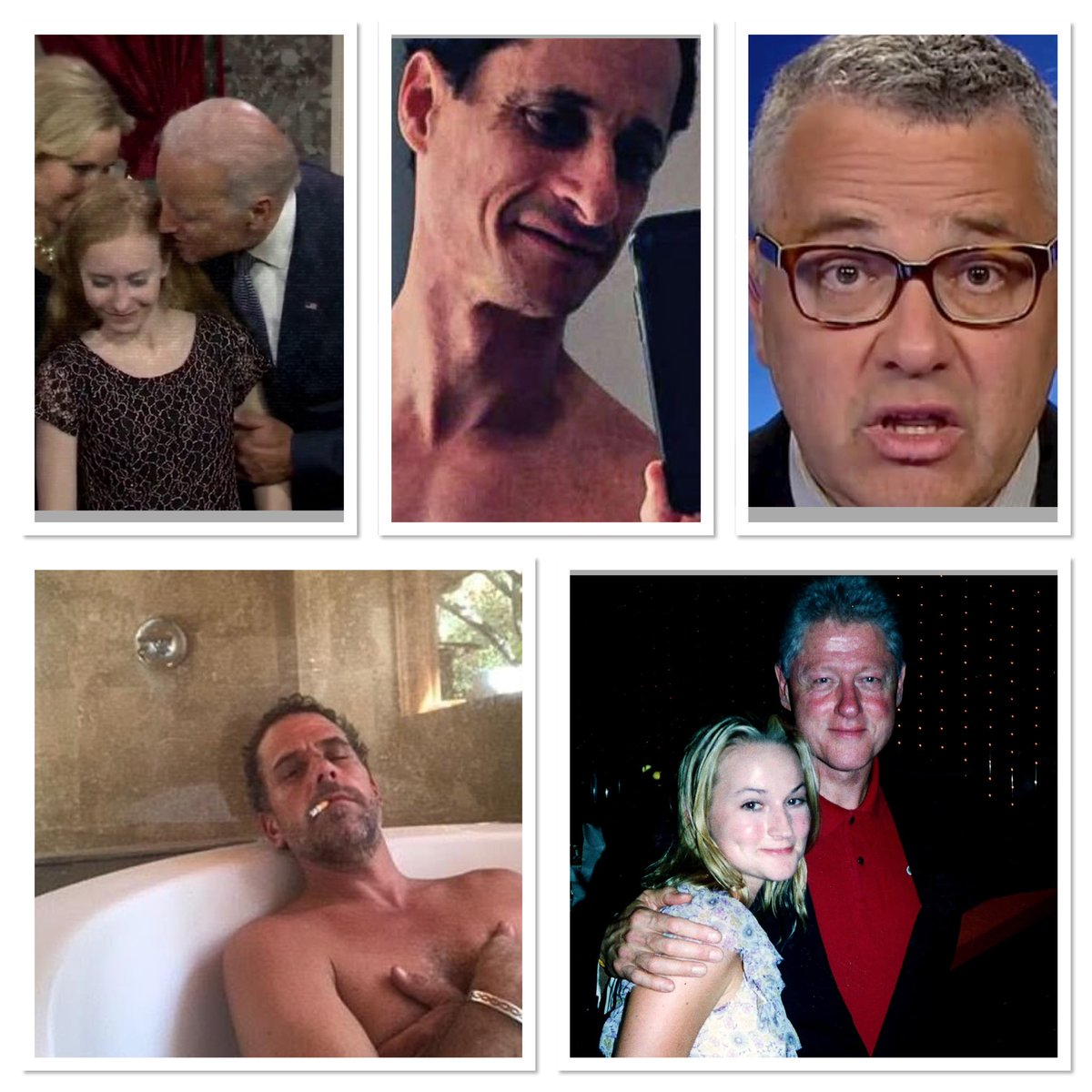 Joe Biden sniffs little girls. Hunter films himself smoking crack. Toobin plays with his penis while on a business Zoom call. Anthony Weiner shares photos of his wiener. Bill Clinton is a known sex predator. And these sickos say @realdonaldtrump's conduct is inappropriate!