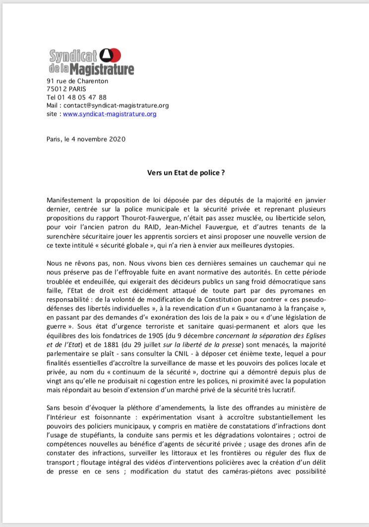 test Twitter Media - RT @SMagistrature: Proposition de loi Sécurité globale : vers un État de police ?  Notre communiqué de presse https://t.co/js0JnN9UYd