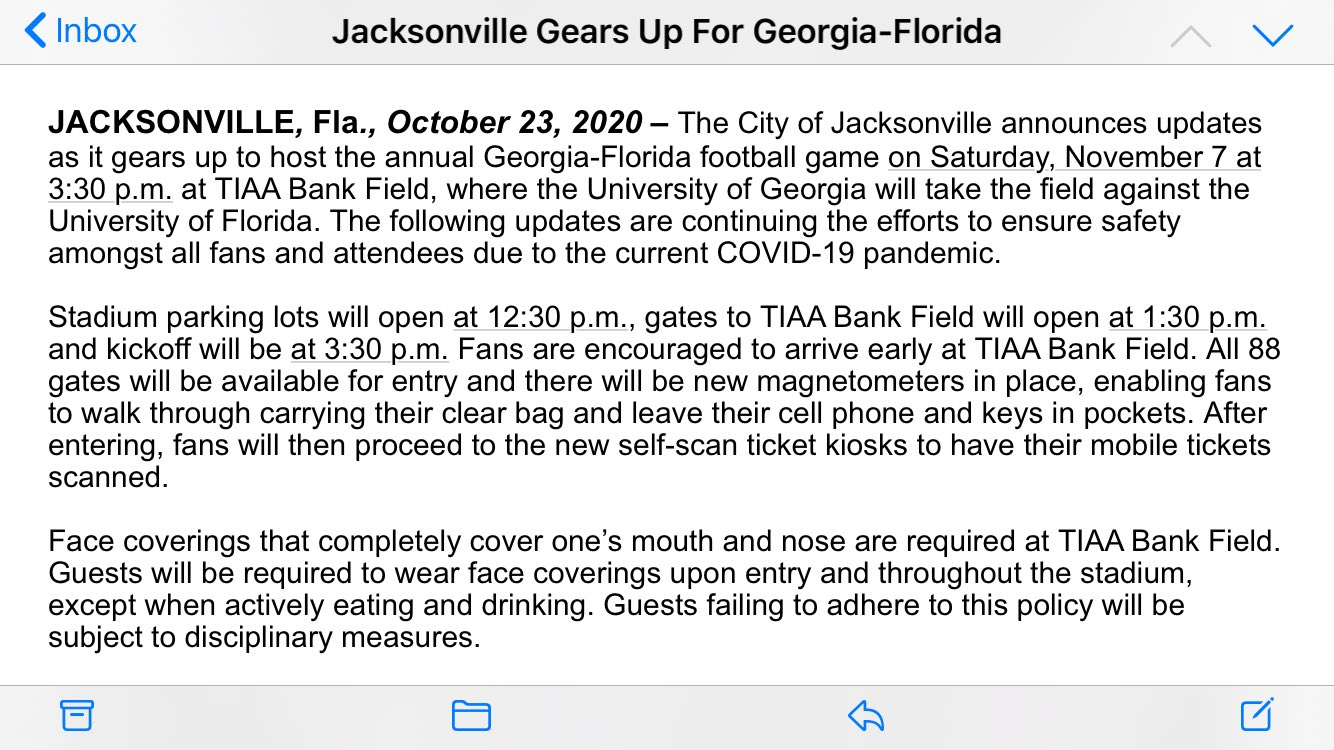 "Updates on Georgia-Florida in Jacksonville, which will have limited attendance: No tailgating, face coverings required in stadium ""except when actively eating and drinking,"" no cash transactions - but alcohol sales will still take place. https://t.co/gAS6RkvIbD"
