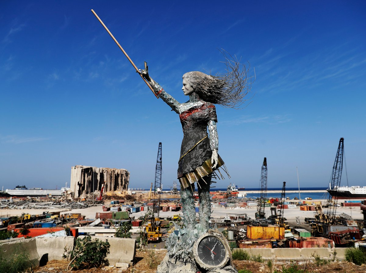 This statue in Beirut is made out of debris from the deadly explosion in August.  Artist Hayat Nazer made it to mark 1 year since anti-government protests started in Lebanon. The blast, which killed about 200 people, is widely blamed on state negligence.