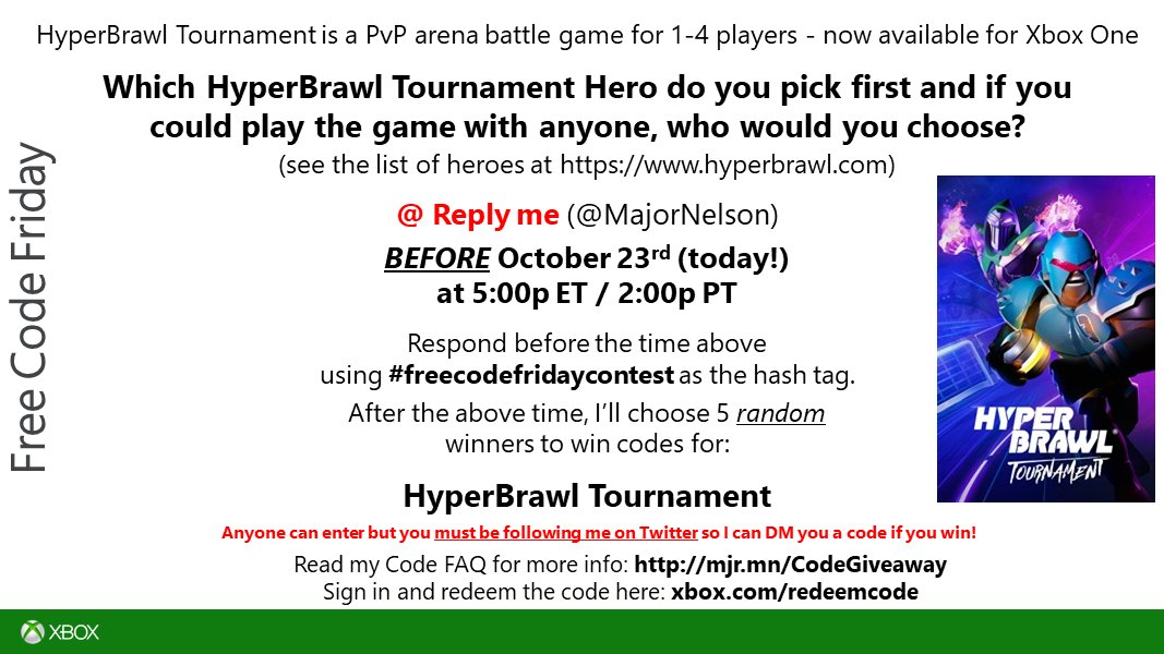 #freecodefridaycontest time. Read this and you could win a code for @HyperBrawl Tournament on Xbox One. Good luck!