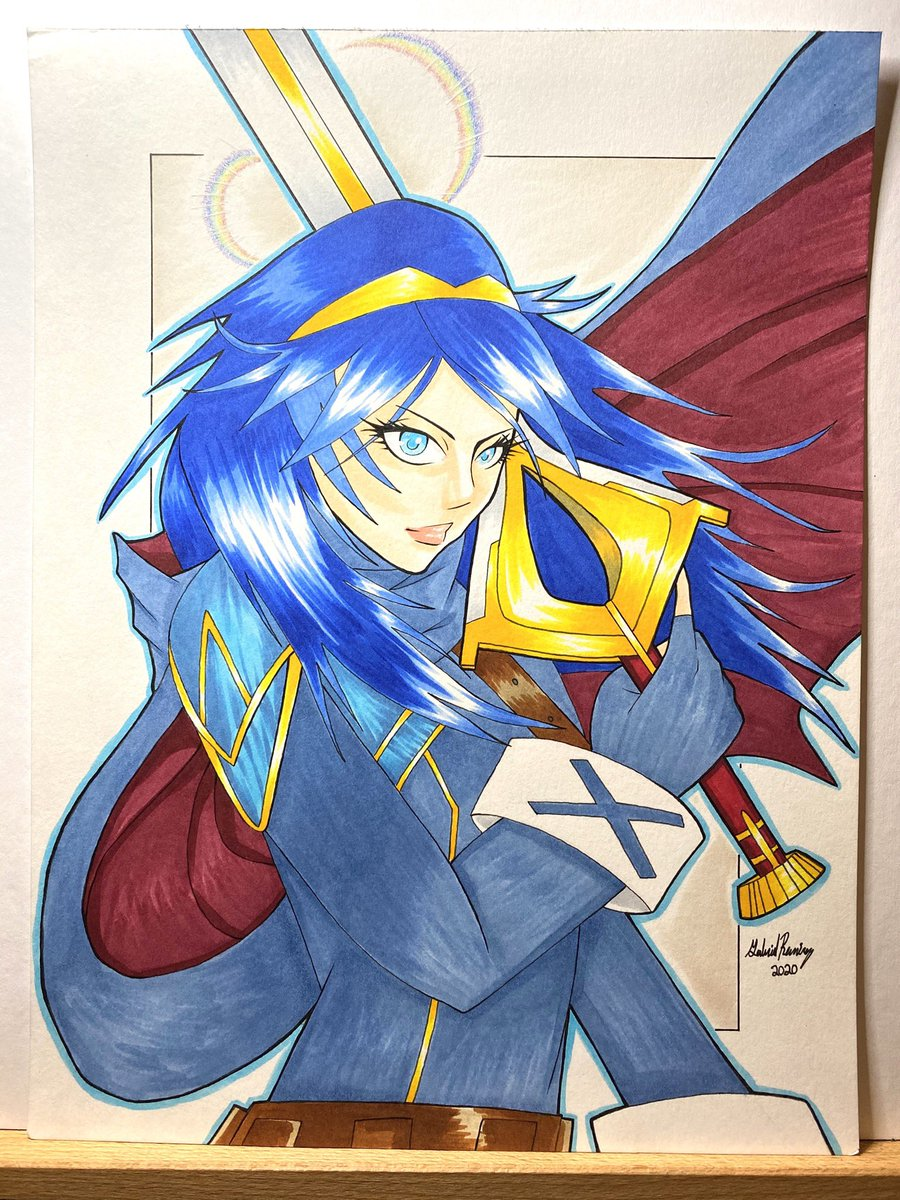 Lucina rainbow rare 🌈🗡✨my favorite thing i've made so far 🤩📈 Artober day 23  Copic, ink and colored pencil Fanart by me 2020  ————————————————  #arttrober2020 #artshare  #portrait #art  #marker #copic #copicart #portraitart #fanart #lucina #fireemblem #videogames #people