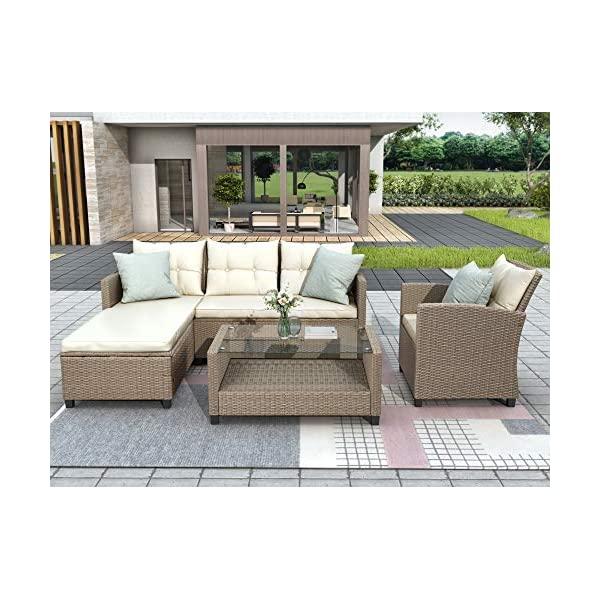 Merax 4-Piece Conversation Set, Wicker Rattan Sectional Sofa Patio Furniture...