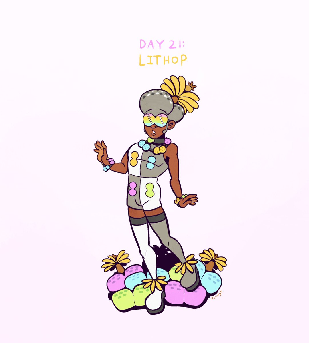 days 21-24! Lithop, Tulip, Daisy, Hydrangea #sketchtember #bloomtober #inktober2020