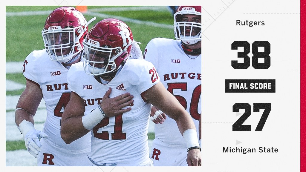 RUTGERS JUST BEAT MICHIGAN STATE 😳  It's the first Big Ten win for Rutgers since 2017.