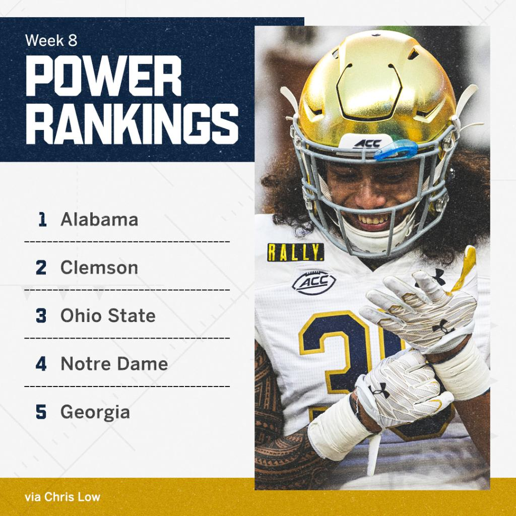 As the Nov. 7 showdown with Clemson draws closer, Notre Dame continues to climb @ClowESPN's power rankings ➡️