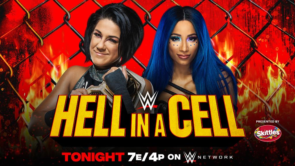 It all comes down to this.  @itsBayleyWWE defends the #SmackDown #WomensTitle against @SashaBanksWWE TONIGHT inside #HellInACell! #HIAC