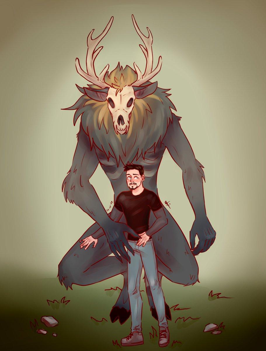 "I really like wendigos so I went more with the ""Monster"" prompt and drew Steve as one with a tiny tony ✨😌 26 #SteveTonytober #Stony #SteveTony"