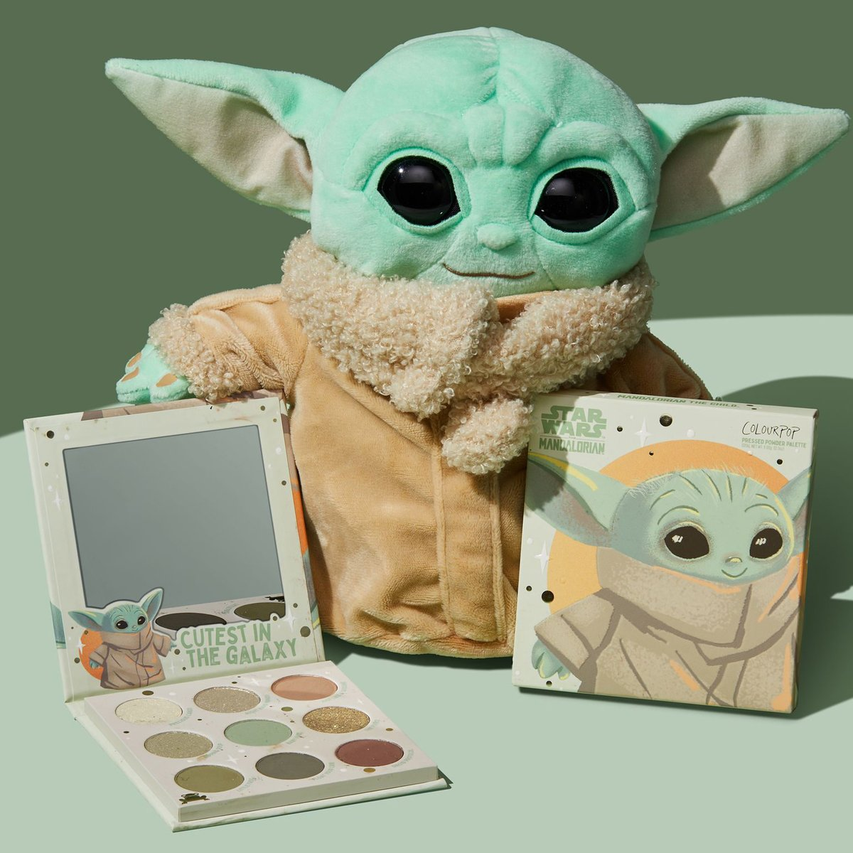 💚#GIVEAWAY 💚  The Child, affectionately referred to as Baby Yoda, has stolen our 💚's! We are giving away 5 of 'The Child' palettes + 'The Child' @Mattel  Plushes!  To Enter: 💚Like & RT 💚Follow @ColourPopCo  This collaboration launches on October 29th at 10AM PST!