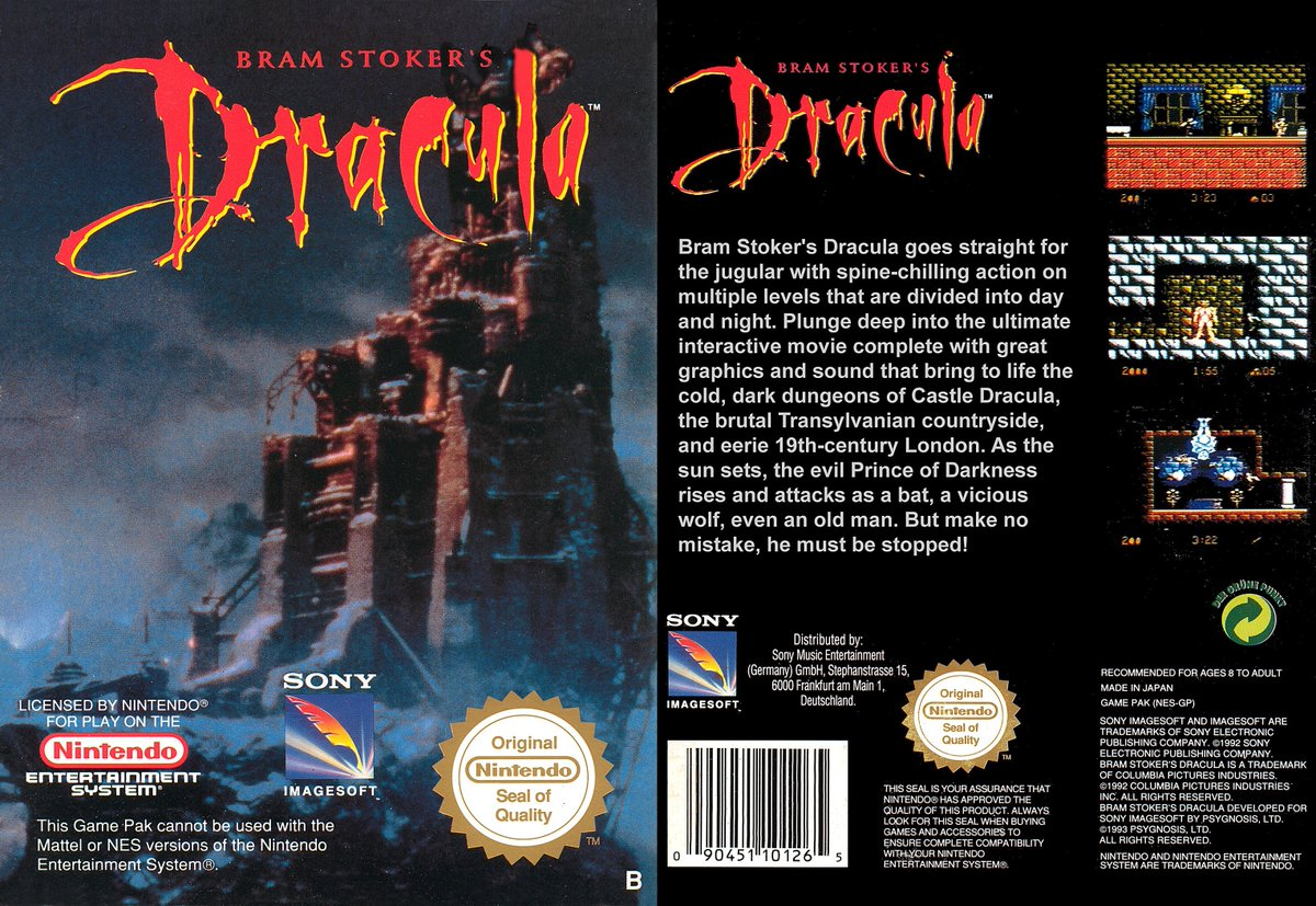 BRAM STOKER'S DRACULA: Here's the cover for the 1993 action game from Probe Software for the NES. Based on the 1992 film this also came to other formats, did you ever help Jonathan Harker defeat the Prince of Darkness? #retrogaming #Nintendo #NES #Horror #HorrorWeek #90s #gaming