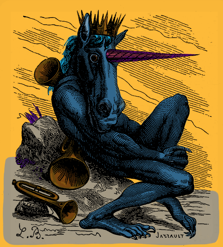 'Inferno in colours: Amduscias the demon, from Collin de Plancy's Dictionnaire Infernal'  'Amdusias is crowned to show that he is a duke of hell.'  Three editions, Ξ 0.02 @rariblecom  🎺  #cryptoart #NFTs #demon #hell