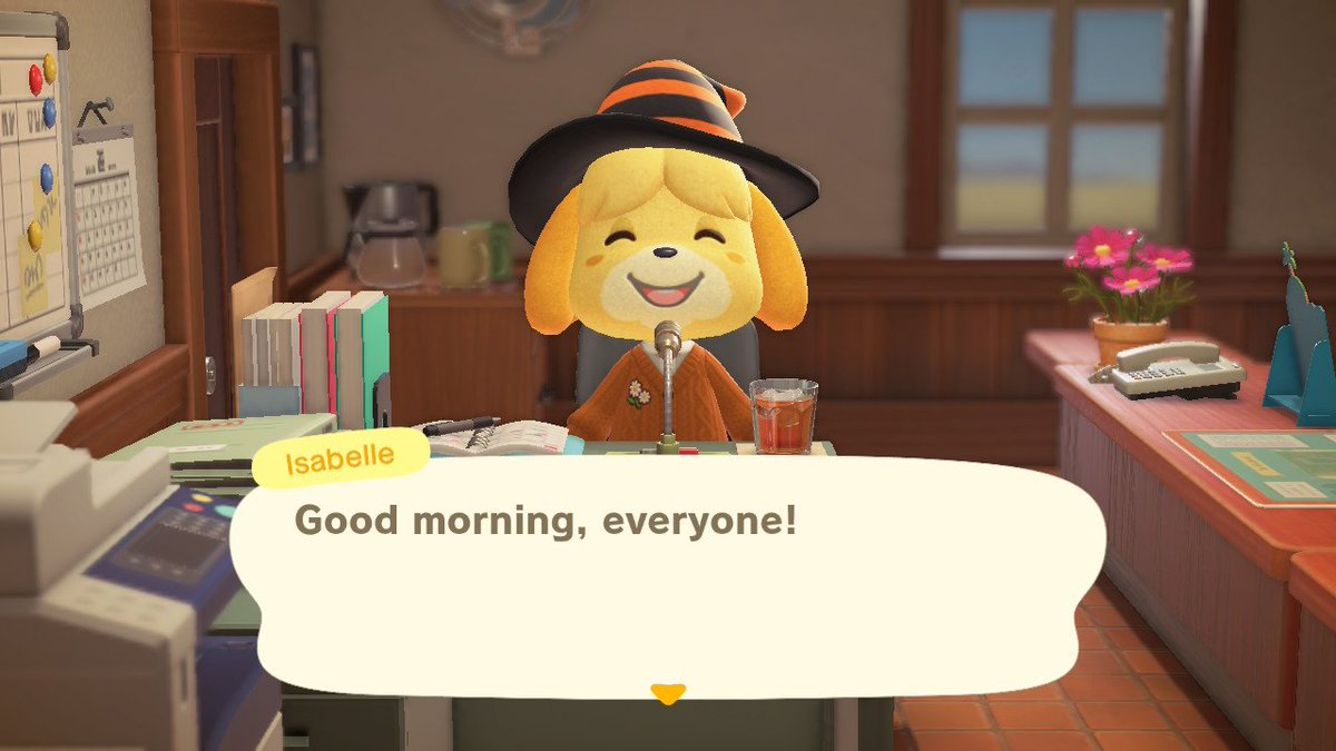 IMPORTANT UPDATE, ISABELLE HAS A WITCH HAT ON AND SHE'S CUTE #animalcrossing