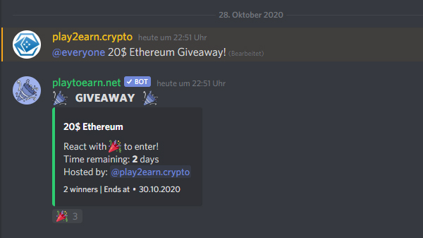 Join our 20$ #Ethereum Discord #CryptoGiveaway!  💸Join Discord  💸Check channel #Giveaways and react with🎉   2 x 10$ $ETH #Giveaway winner will be announced in 48hours  Don't miss:   @coinkit_ com 90 700 BTC #DiscordCryptoGiveaway