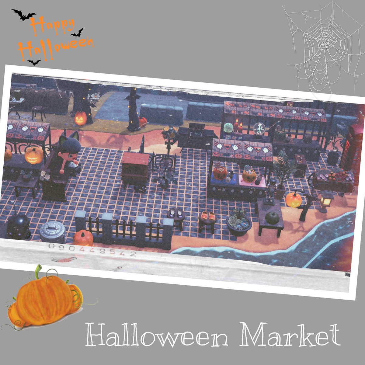 めちゃくちゃ遅いハロウィン準備開始😫💦 ハロウィン一緒に遊んでくれるお友達とお話ししてて思いついたハロウィンマーケットを頑張って作りました(゚‐゚*) (屋台のマイデザも折角なので登録しましたので誰かに気になって貰えたらなぁと🥺) #あつ森写真部 #マイデザイン #ACNHDesigns #Halloween