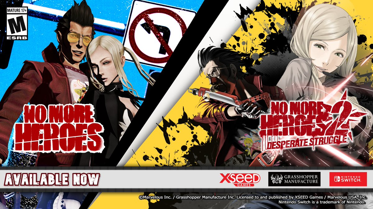 Revisit the adventures of off-beat otaku assassin Travis Touchdown in #NoMoreHeroes and No More Heroes 2: Desperate Struggle, out now fully remastered for #Nintendo Switch!  ▪️  ▪️NMH1:  ▪️NMH2: