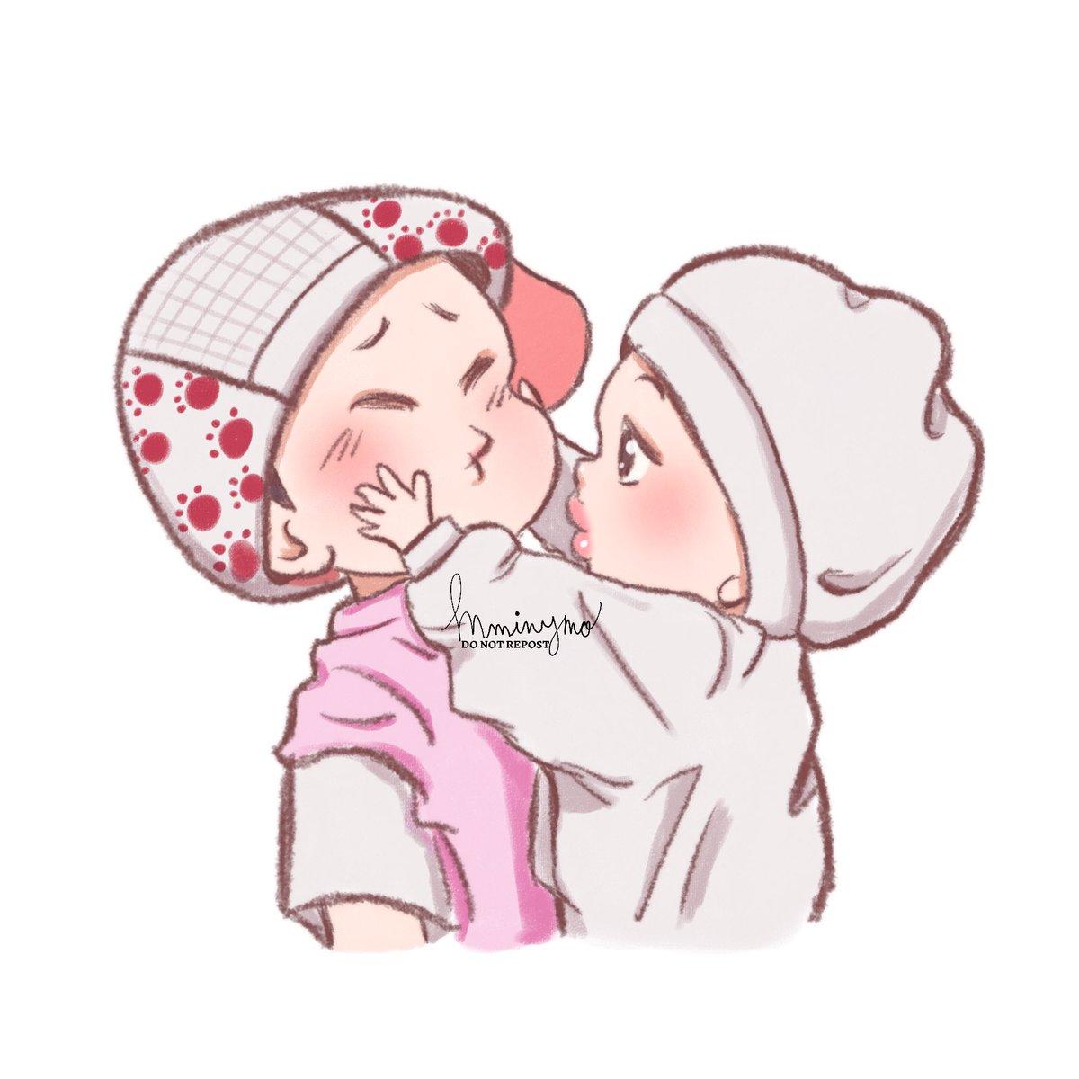 🐱 💛 🐥 Baby Jiminie 🍡 likes baby Yoonie's 🥟 cheeks too much. #yoonmin #fanart #슙짐 #짐슙