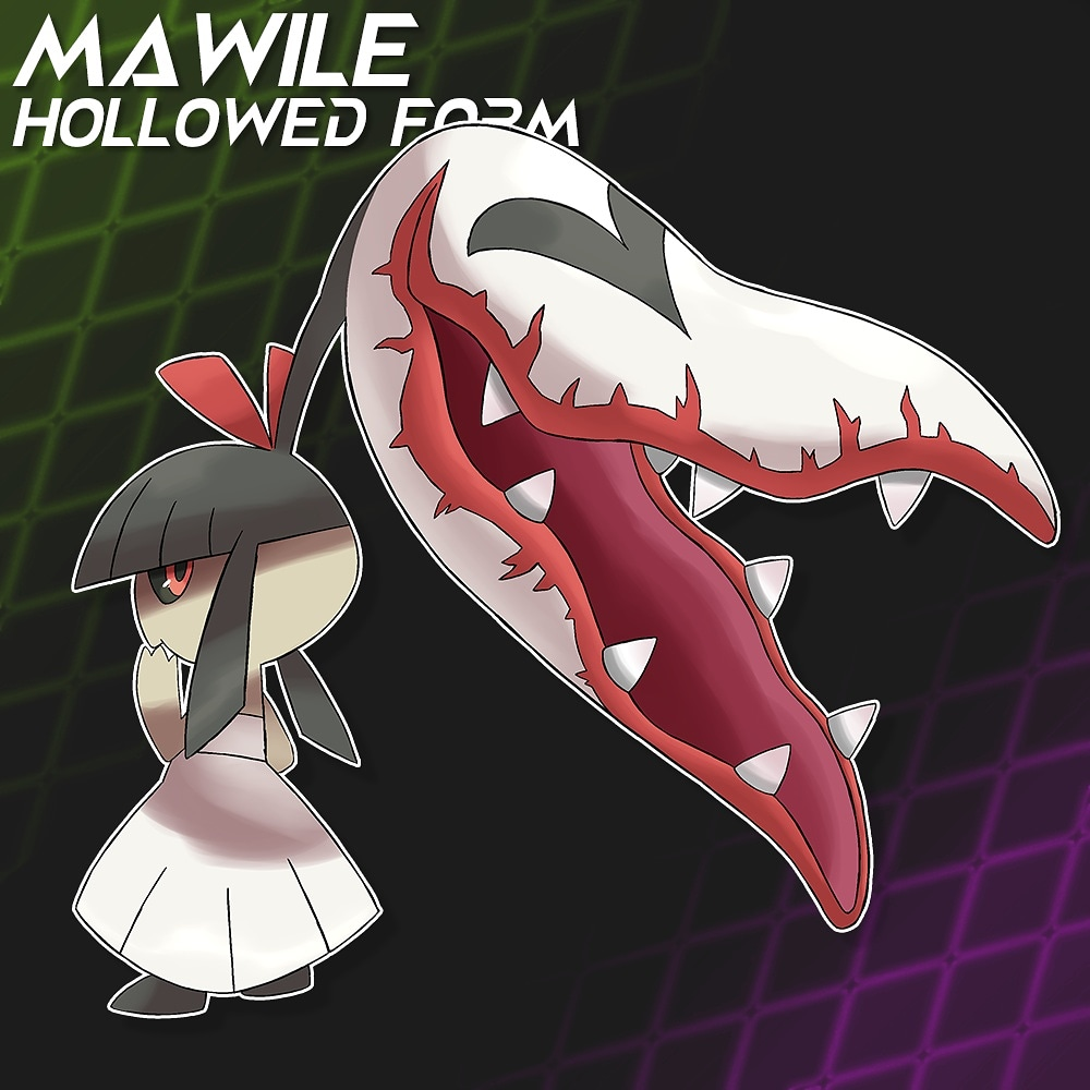 More spookymons! Here is a Hallowed Mawile variant based on Kuchisake-Onna, a japanese urban legend about a woman with a horrible mouth scar asking if you think shes pretty-and punishing you regardless of your answer #pokemon #fakemom #PokemonSwordShield #mawile