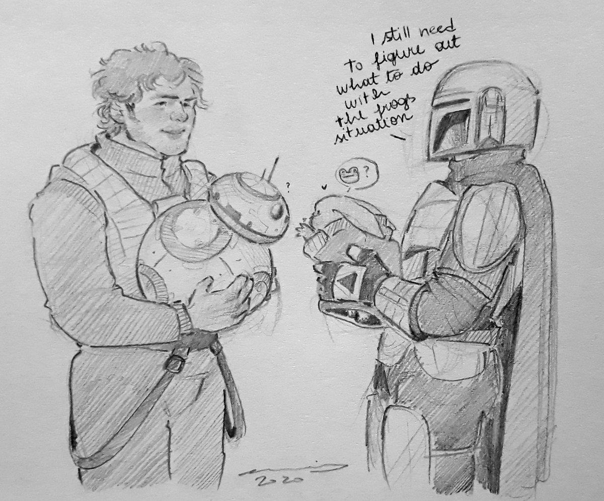 I was going with Poe Dameron meets Din Djarin, but it's more: Yodito meets BB-8 #TheMandalorian #thechild #dindjarin #fanart #pedropascal #oscarisaac #poedameron