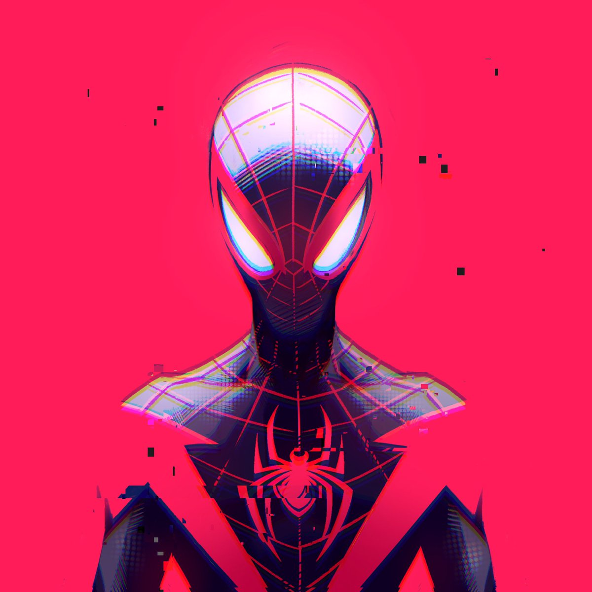 A glitch in my usual style.  I've been experimenting a lot recently. Deal with it 🙅🏻♂️  #MilesMorales #spiderman #PlayStation5 #procreate