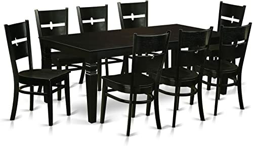 LGRO9-BLK-W 9 Pc Dinette set with a Kitchen Table and 8 Wood Kitchen Chairs...