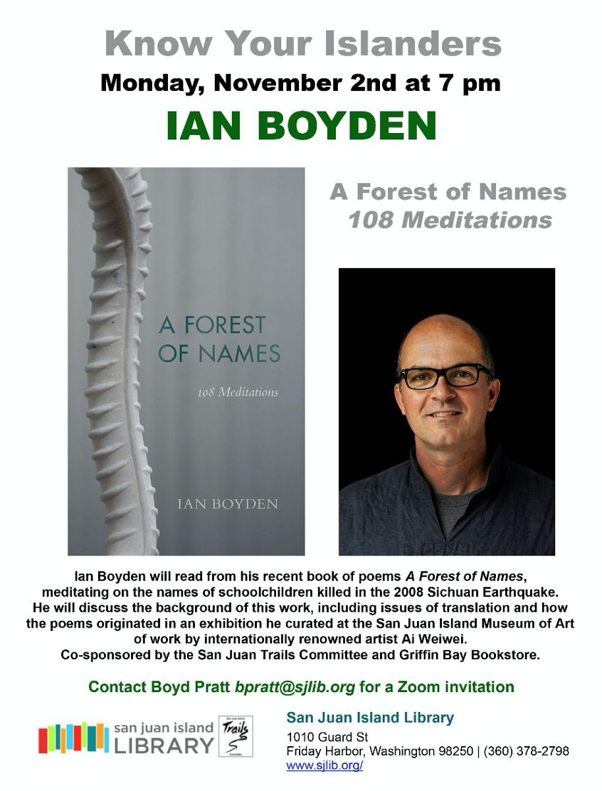 "test Twitter Media - Ian Boyden will discuss his new book ""A Forest of Names: 108 Meditations"" at a virtual event sponsored by the San Juan Island Library on Monday, November 2 at 7 pm/PT. See the attached flyer for more information! https://t.co/CZJ1yLbyvi"