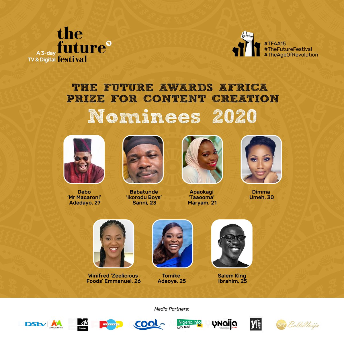 Honored to be nominated alongside these incredible Talents. I am humbled by the fact that we have millions of Nigerian Youths who can achieve greater heights if our environment is safer and enabling. This is why we clamor for a Better Nigeria! ✊🏿 Thank you @TFAAfrica @IamYAfrica