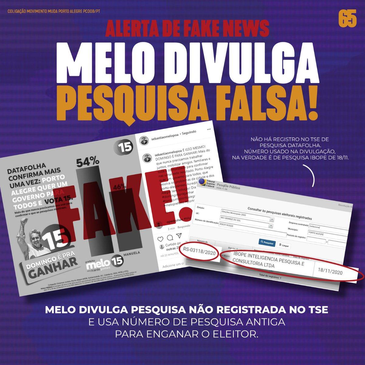 A mentira não vai vencer em Porto Alegre! O povo está cansado de tantos conchavos e enganações! Agora é hora de mudança! #vira65