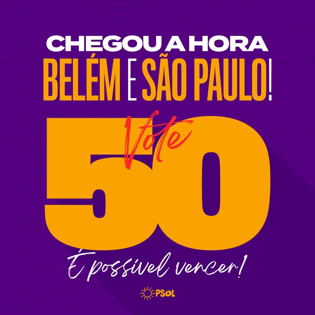 Chegou a hora e a vitória é possível! Neste domingo, é 50 na cabeça e no peito em São Paulo e Belém. Vamos eleger @GuilhermeBoulos e @EdmilsonPSOL!