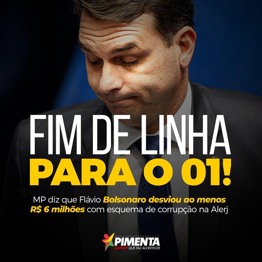 MP diz que Flávio Bolsonaro desviou ao menos R$ 6 milhões com esquema de corrupção na Alerj • Leia mais:  • #ForaBolsonaro • #ePP
