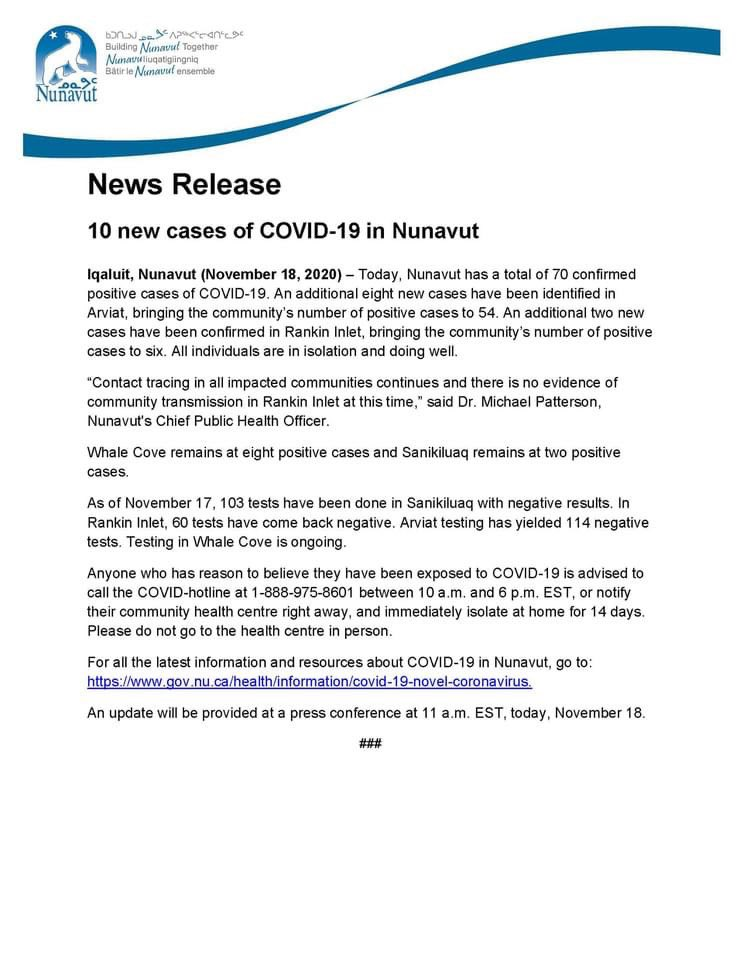test Twitter Media - #Nunavut now has 70 cases of #COVID19 with 10 new cases announced today by @GOVofNUNAVUT https://t.co/b3LBkqbcgB