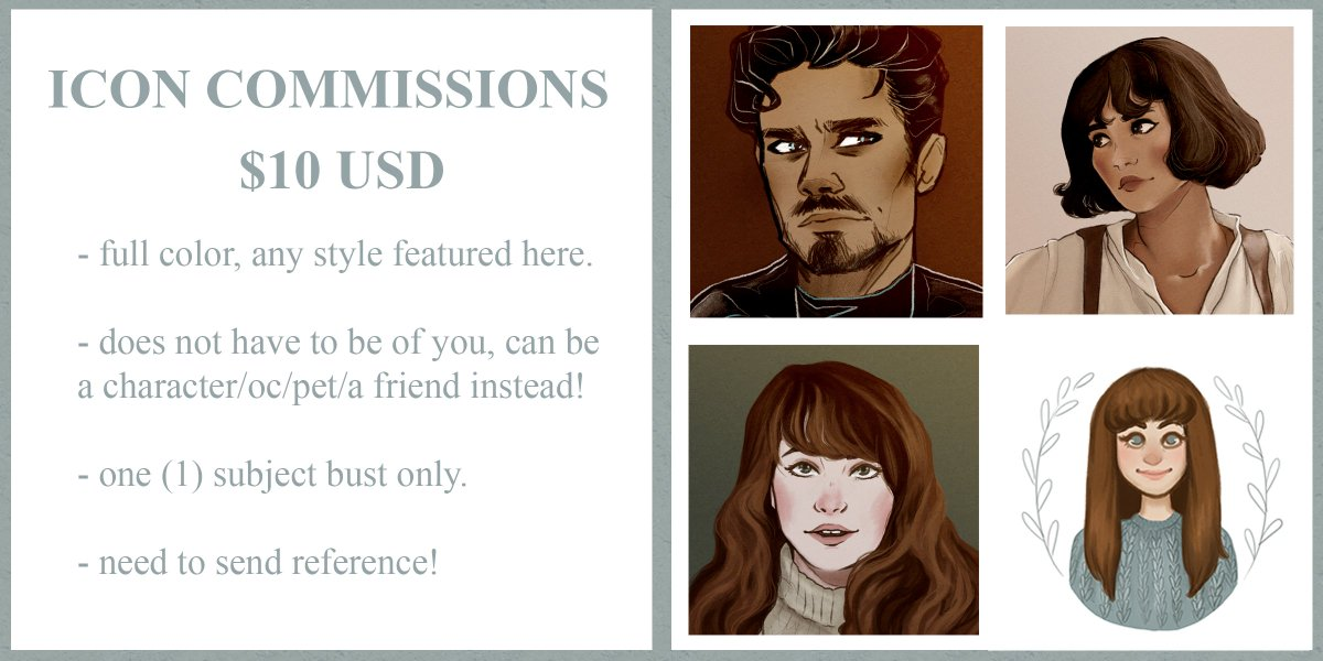 ✨ICON COMMISSIONS ARE NOW OPEN!✨  They are $10 each, I'll be sending invoices through PayPal. Examples and guidelines are below. If interested, please send me a DM. RT's are appreciated!