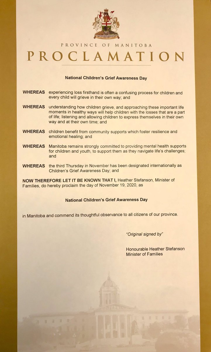 test Twitter Media - Proud to proclaim November 19th as National Children's Grief Awareness Day. Thanks to @RainbowsCanada for all the work they do to help children who are dealing with grieve and loss. #childrensgriefawarenessday https://t.co/dJ5BTbyJhf https://t.co/2jveCv1Eb5