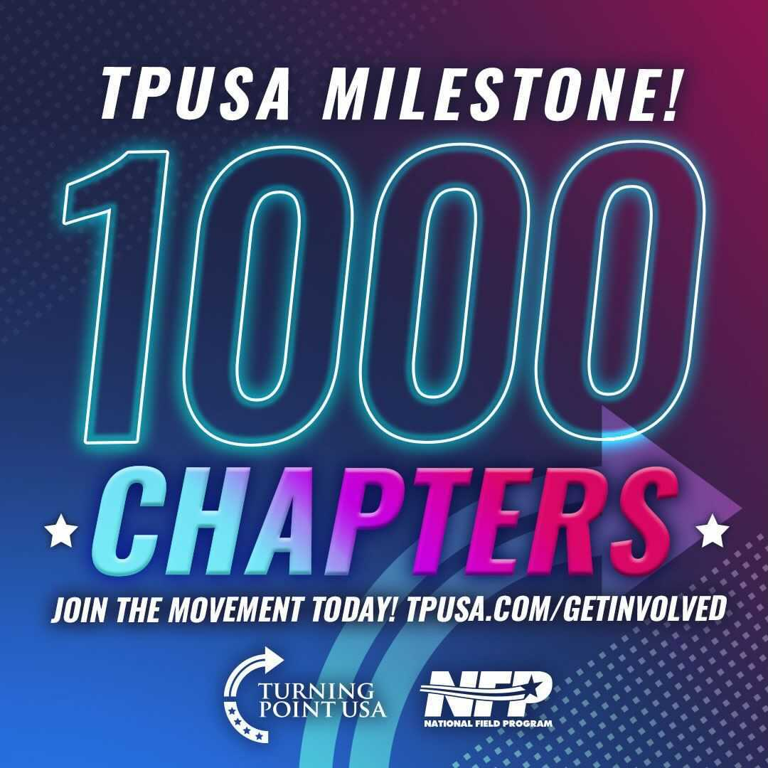 AMAZING! TPUSA Has Reached A MAJOR Milestone, With 1,000 Chapters Across The USA!  Thank You To All Of Our Dedicated Freedom-Fighters For Working Hard To Save America & WIN The Culture War 🇺🇸  Join The Movement ➡️