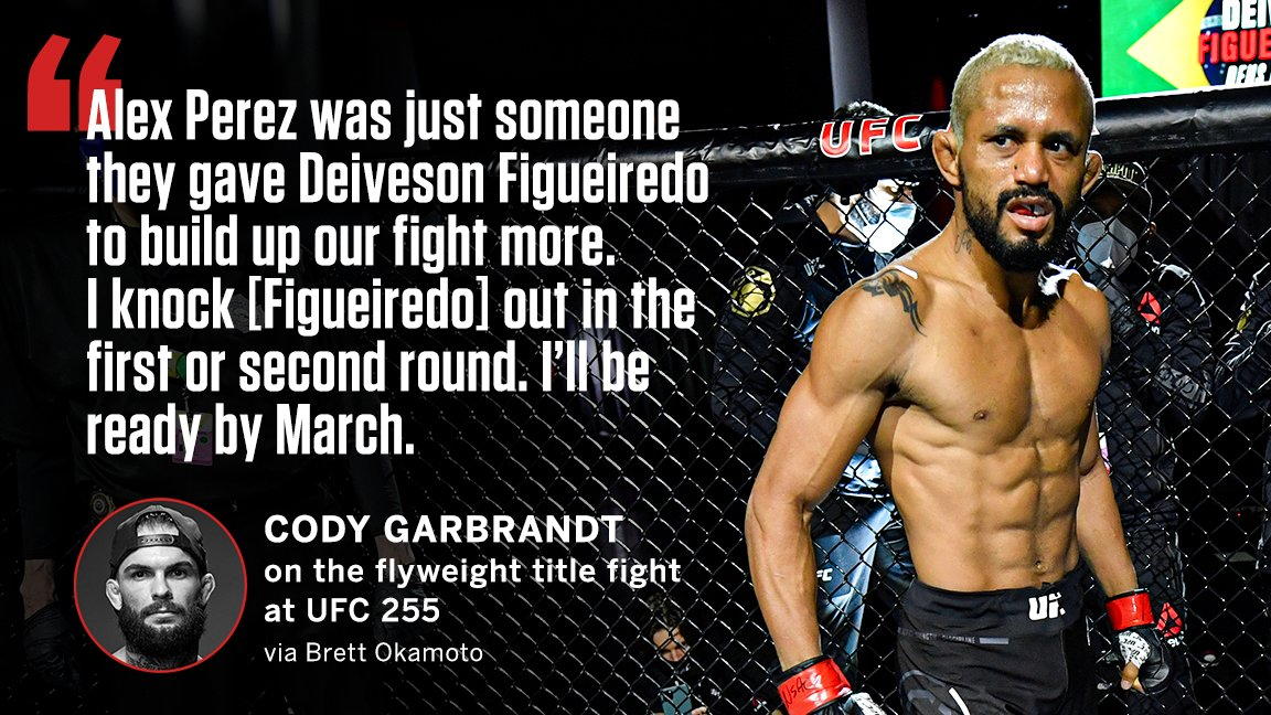 Cody Garbrandt predicts an early knockout against Deiveson Figueiredo 👀 #UFC255  (via @bokamotoESPN)