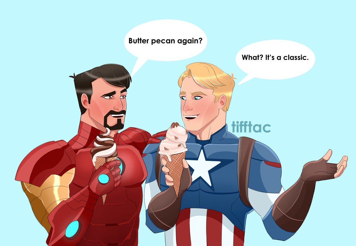 they're on an icecream date #stevetony #superhusbands #avengersassemble