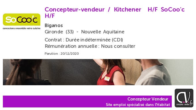 test Twitter Media - Offre d'emploi  Concepteur-vendeur / Kitchener  H/F - SoCoo'c - Biganos (33) https://t.co/38A0uXYiTu https://t.co/QUTCkaRpTB