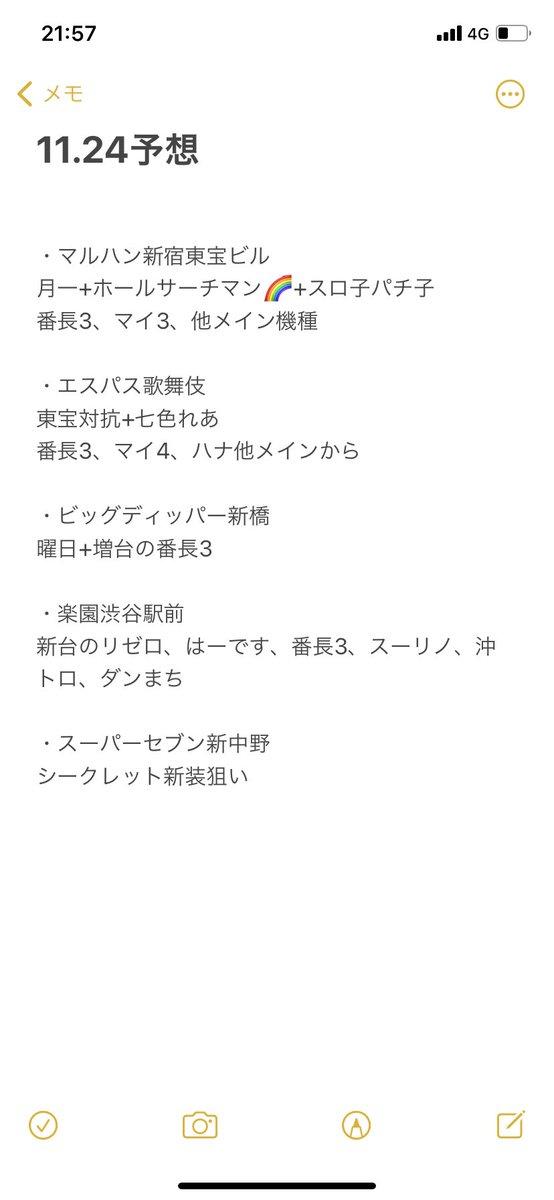test ツイッターメディア - 明日24日の予想🤓  マルハン新宿東宝ビル エスパス歌舞伎 ビッグディッパー新橋 楽園渋谷駅前 スーパーセブン新中野  三連休の調子はどうだったでしょうか?  ファン感で回収だった店が多かったと思いますが、 年末年始にかけての撒き餌に期待したいですね!  #メガディッパー https://t.co/3SfTWC5W6R
