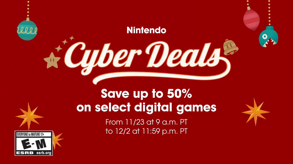 The Nintendo Cyber Deals sale is here! Treat yourself with up to 50% off select digital games on the #NintendoSwitch system, now through 12/2 at 11:59 p.m. PT.