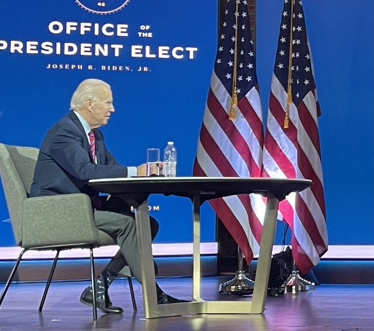 George H.W. Bush was known for his socks, maybe Biden will be too? Today he wore dark blue socks adorned with lighter blue dogs. (Yes, there are plenty of more substantive things to tweet about but we can have some fun sometimes too.)