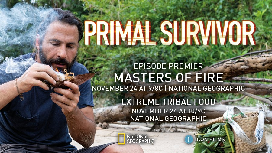 Things are hotting up in tonight's SEASON FINALE of #PrimalSurvivor - Masters of Fire (see what we did there?!) Don't miss @HazenAudel as he journeys to Suriname to meet the Saramacca tribe https://t.co/PxegY09GM2