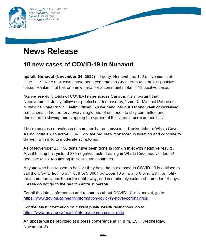 test Twitter Media - Ten new #COVID19 cases in #Nunavut today, for a total of 142. https://t.co/DshlrvtF3W