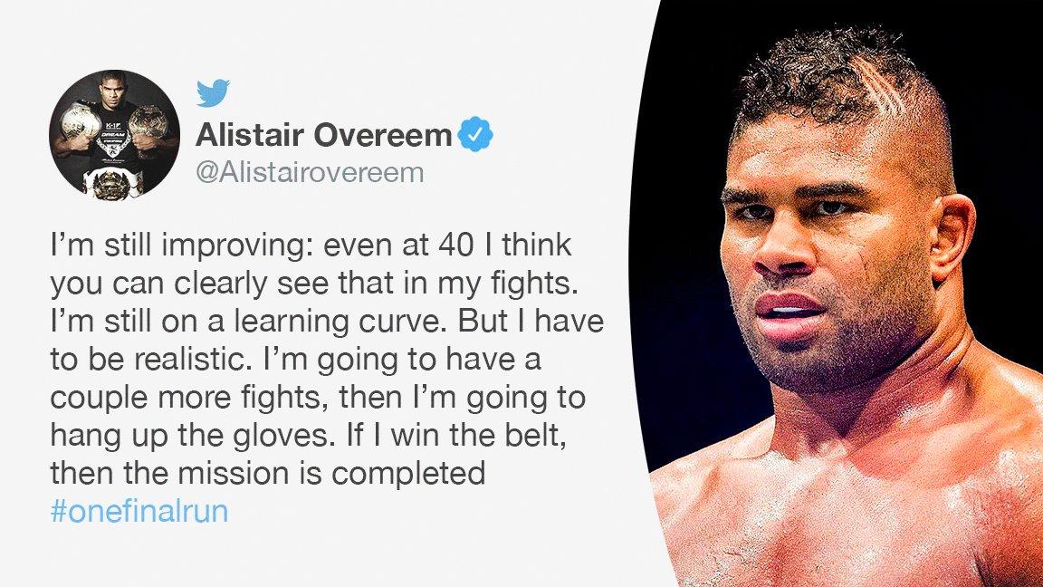 The Demolition Man hopes his final run culminates with UFC gold 🏆  (via @Alistairovereem)