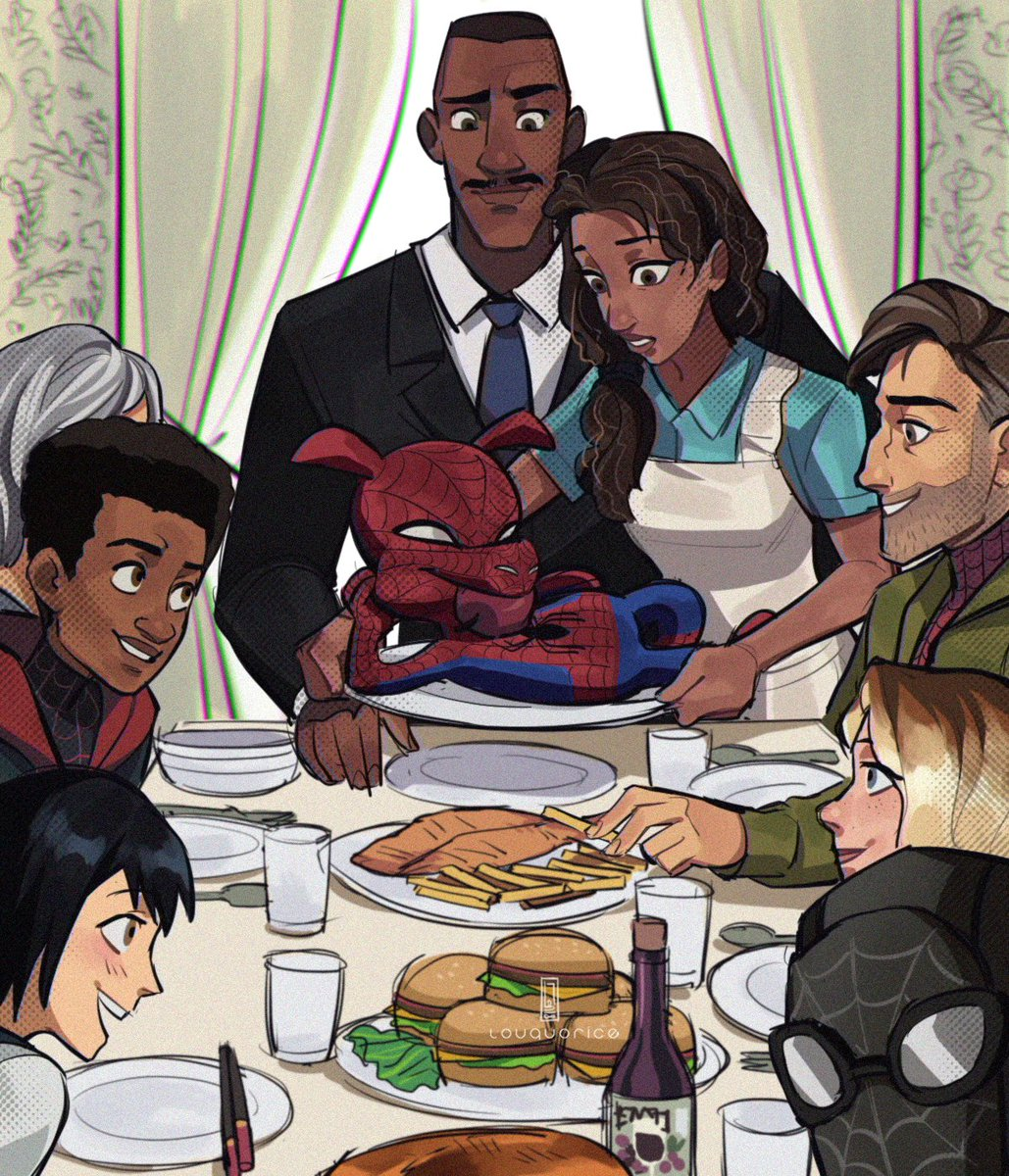 happy birthday to this spiderverse thanksgiving drawing that i originally posted on christmas season instead. also, stay at home