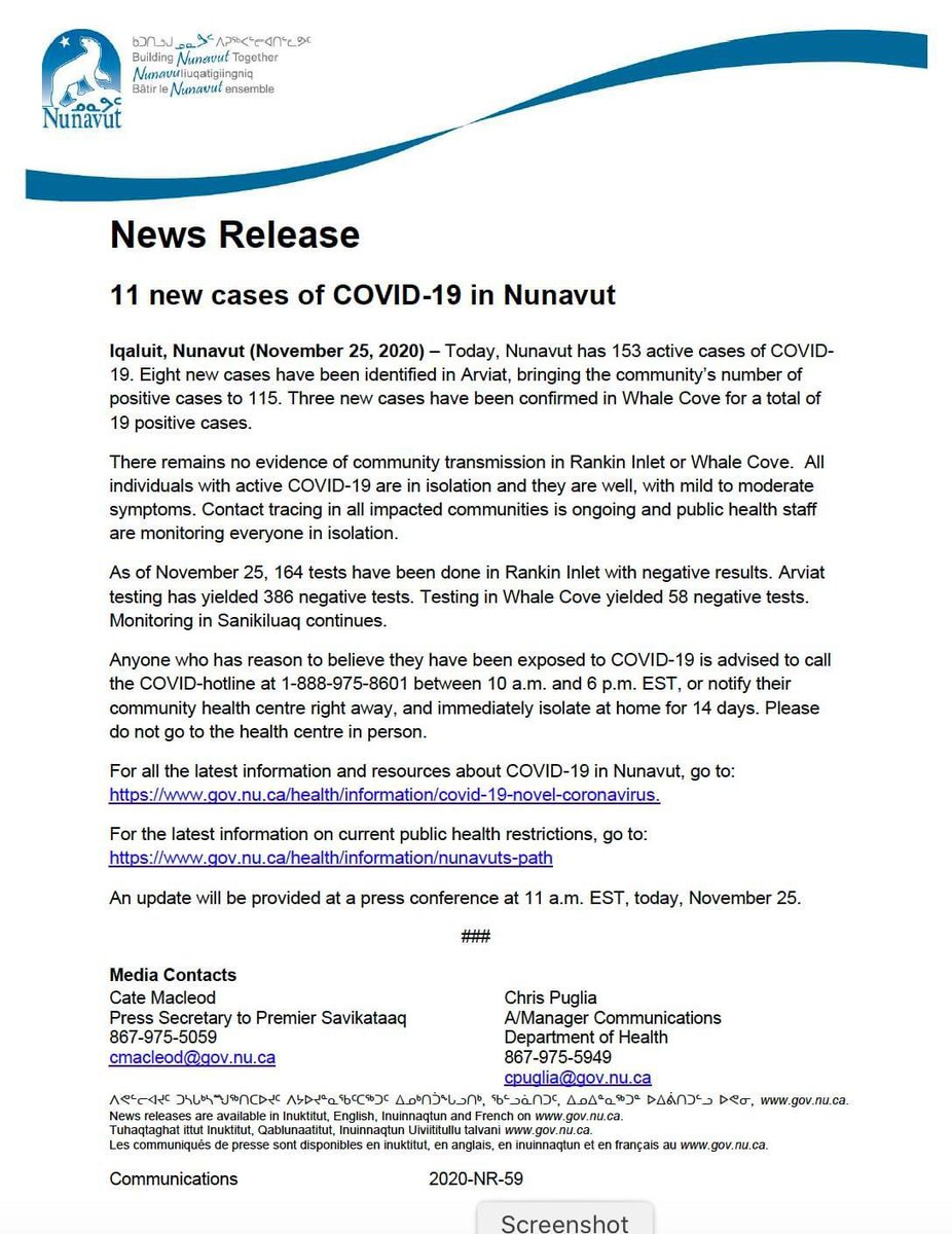 test Twitter Media - #Nunavut has 11 new cases of #COVID19 today for a total of 153. https://t.co/jrfVjT5Ln1
