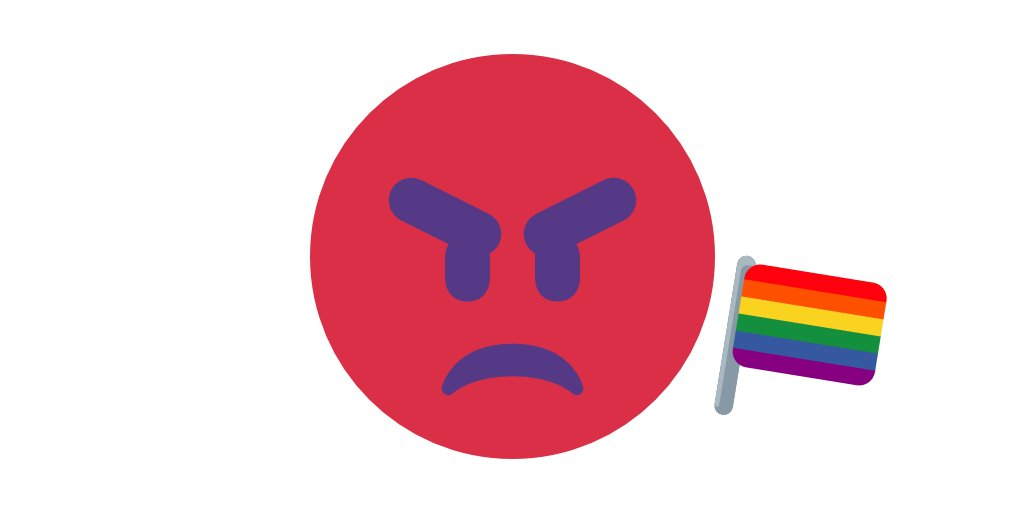 👿 demon-angry + 😡 extremely-angry + 🏳️🌈 flag-pride =