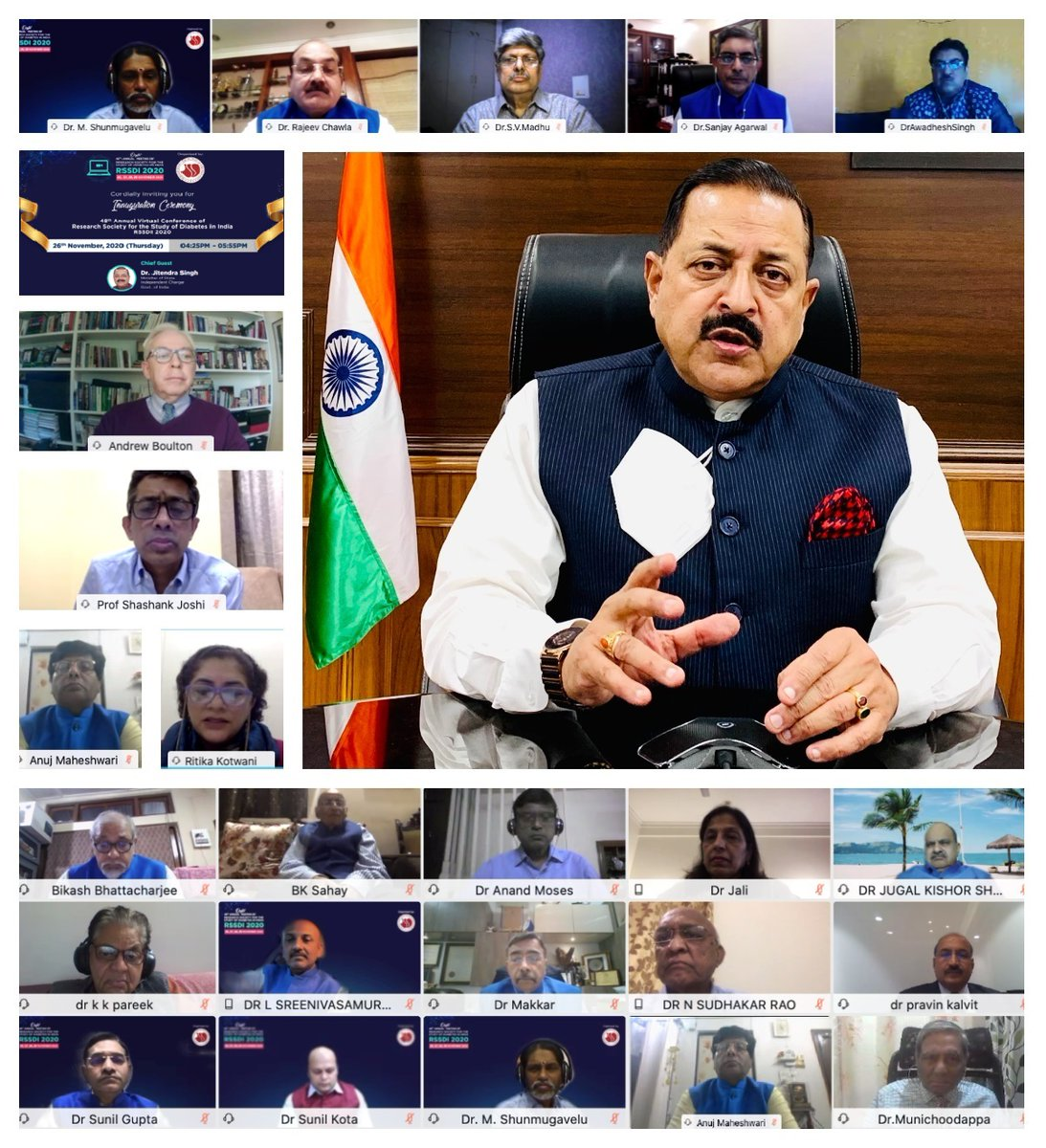 test Twitter Media - Delivered Inaugural Address through virtual mode, as chief guest at 4-day Annual #Diabetes Conference of RSSDI. Attended by leading luminaries like Dr Andrew Boulton, President International Diabetes federation. Must compliment Dr Banshi Saboo for organizing despite pandemic. https://t.co/lMyTMEOZaF