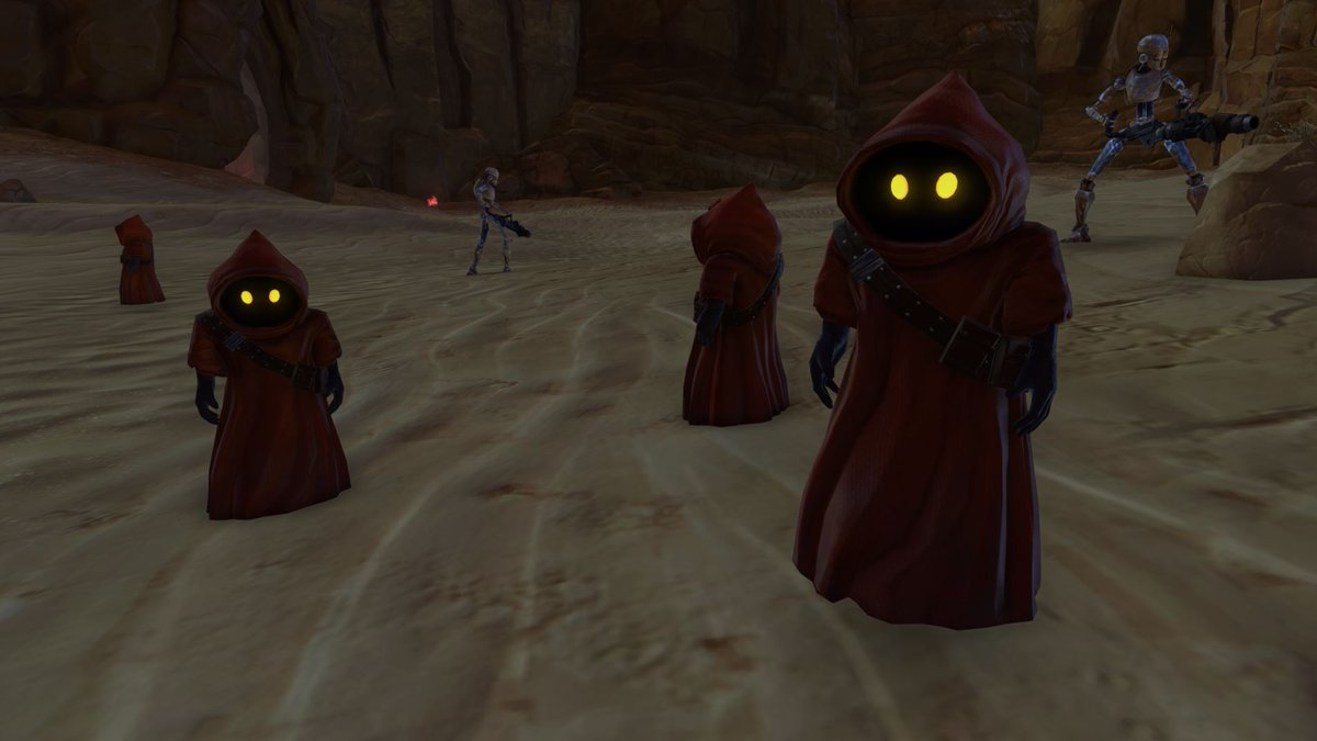 test Twitter Media - Jawas can be recognized with their brown robes used to protect them from Tatooine's twin suns. They also have a particular hierarchy compared to the other species as they travel in clans ruled by female shamans. https://t.co/lG5x1vbre1