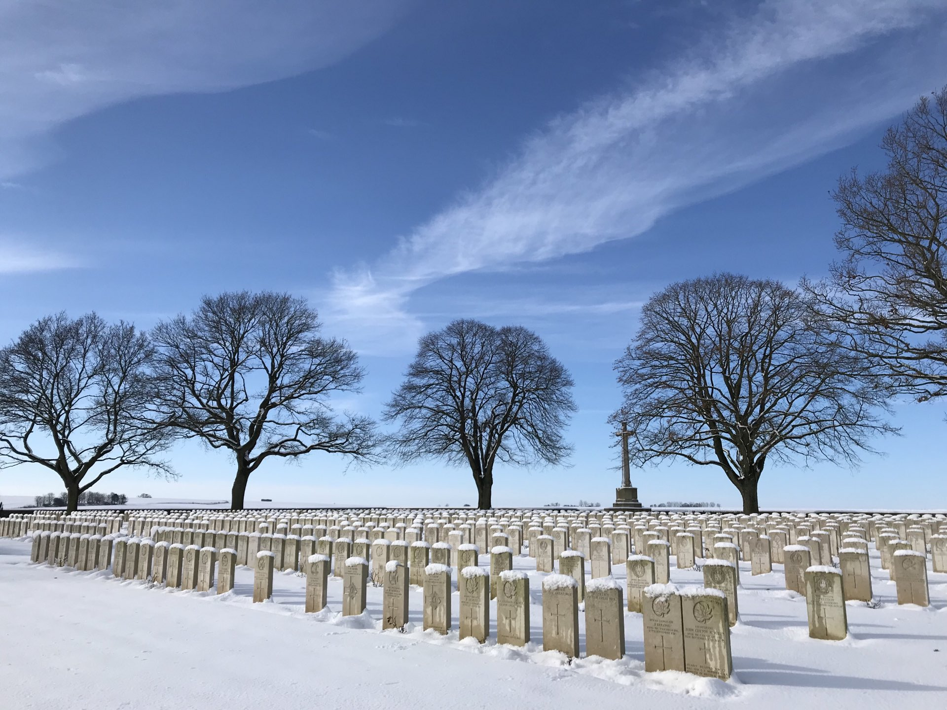 Courcelette British Cemetery in the snow, February 2019. https://t.co/beH0UARONb