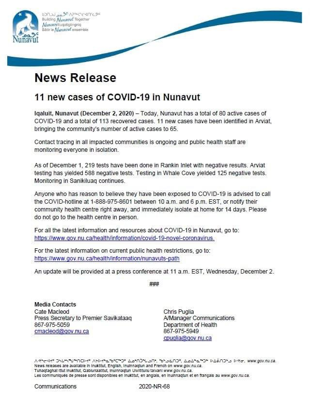 test Twitter Media - The lockdown has been lifted in almost all #Nunavut communities, we are back to work at the office & schools are open. Today, we have 11 new cases of #COVID19 https://t.co/oG5OcdfiAh