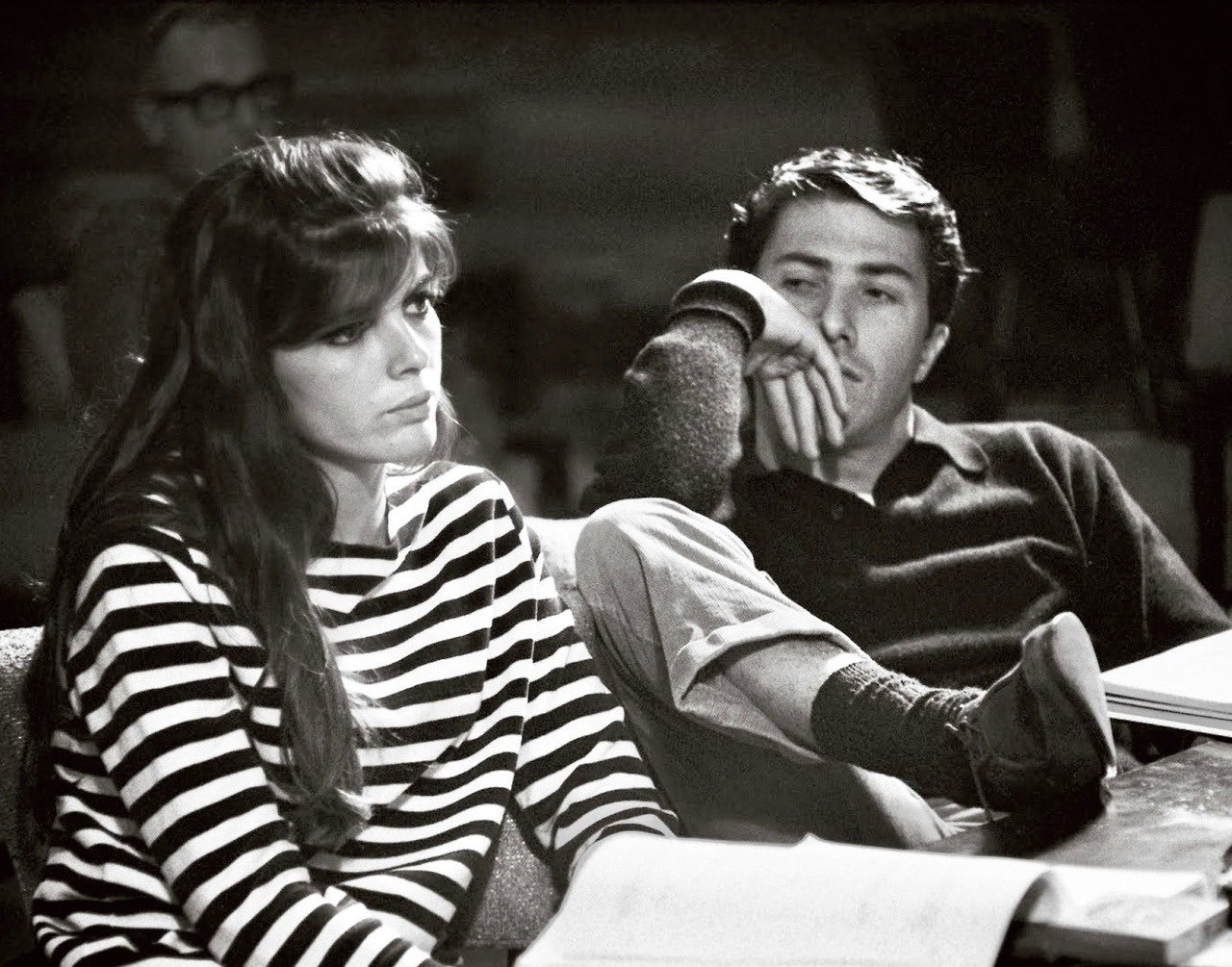 Katharine Ross and Dustin Hoffman in rehearsal for The Graduate, 1967 https://t.co/erfqCWAr9Q